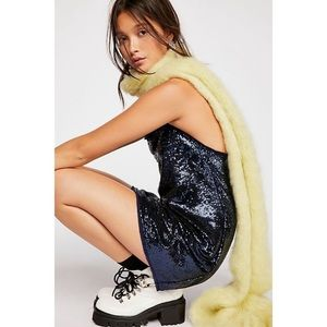 Free People Time To Shine Slip Navy Sequin Mini